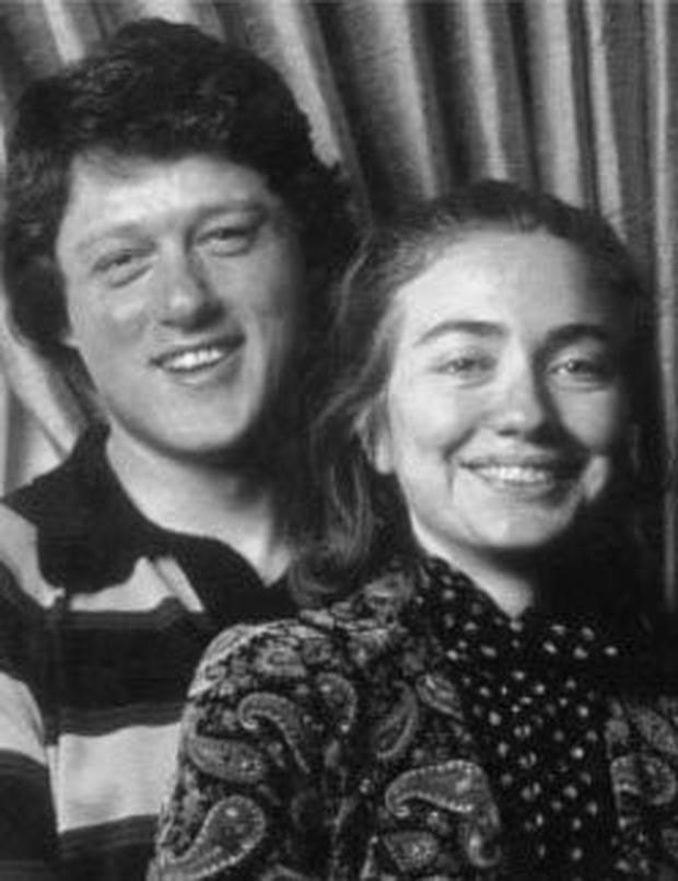 Inset bottom: a youthful Bill and Hillary.