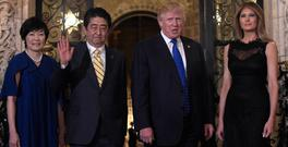 Japanese Prime Minister Shinzo Abe and his wife Akie with Mr Trump and first lady Melania Trump as they met at the president's resort in Florida. Photo: AP