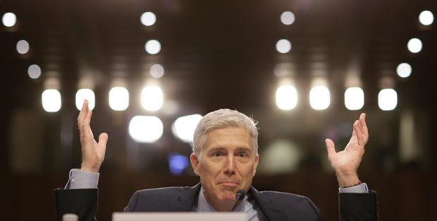 US Supreme Court nominee judge Neil Gorsuch testifies during the second day of his confirmation hearing on Capitol Hill
