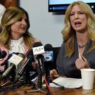 Wendy Walsh (right) speaks about the Bill O'Reilly allegations alongside lawyer Lisa Bloom in LA yesterday. Photo: Kevork Djansezian/Reuters