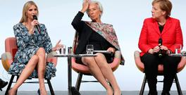 Ivanka Trump, IMF chief Christine Lagarde and German Chancellor Angela Merkel talk on stage at the W20 conferencein Berlin. Photo: Getty