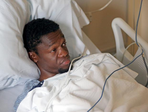 Suspect Bampumim Teixeira is charged with two counts of murder before a judge in his hospital room in Boston. Photo: Reuters