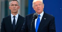 US President Donald Trump speaks next to Nato Secretary General Jens Stoltenberg. Photo: Getty Images