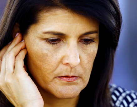 US Ambassador to the United Nations Nikki Haley at the United Nations Human Rights Council in Geneva yesterday