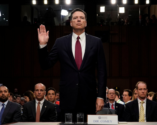 Former FBI director James Comey is sworn in prior to testifying before a Senate Intelligence Committee hearing on Russia's alleged interference in the 2016 US presidential election on Capitol Hill in Washington. Photo: Reuters