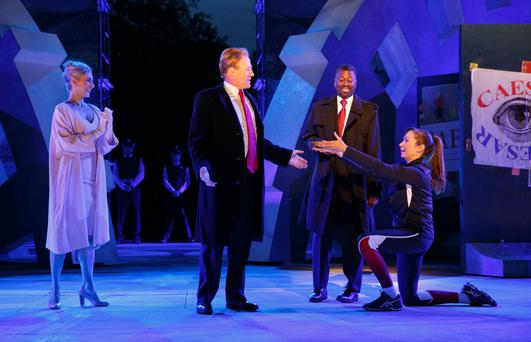 Gregg Henry, centre left, dressed as Donald Trump in the role of Julius Caesar at the Public Theatre in New York