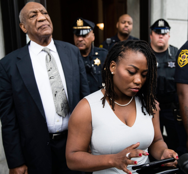 Bill Cosby listens to a speech after his mistrial. Photo: AP