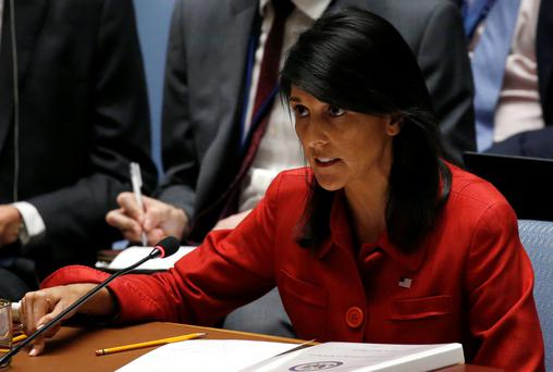 US ambassador to the UN Nikki Haley directs comments to the Russian delegation at the Security Council meeting to discuss North Korea. Photo: Reuters