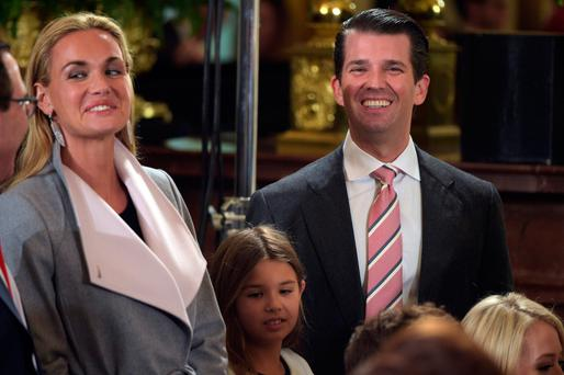 Donald Trump Jr pictured at the White House with his wife Vanessa and their daughter Kai. Photo: Getty Images