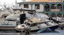 Boats piled on top of each other in the marina in Road Town, Tortola, on the British Virgin Islands. Photo: AP