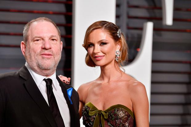Harvey Weinstein with his wife, fashion designer Georgina Chapman, at the 2017 Vanity Fair Oscar Party. Photo: Pascal Le Segretain/Getty