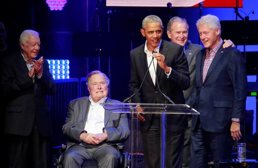 Jimmy Carter, George HW Bush, Barack Obama, George W Bush and Bill Clinton. Photo: REUTERS