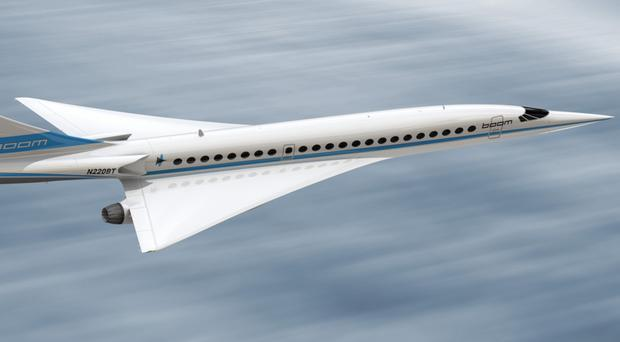 The 'Boom Supersonic' airliner and, inset, the XB-1 'Baby Boom' jet