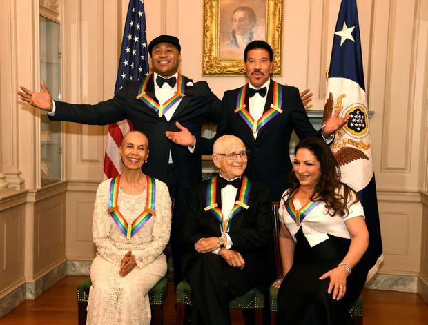 Front row: Dancer, actress and choreographer Carmen de Lavallade, TV writer Norman Lear, Cuban-American singer Gloria Estefan. Back row: Rapper LL Cool J and singer and songwriter Lionel Richie Photo: Reuters
