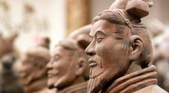 Ten terracotta warriors were on display at the museum