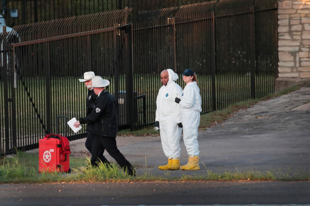 Forensic officers at the scene. Photo: Getty