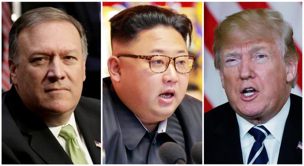 CIA director Mike Pompeo, left, held a secret meeting with North Korean leader Kim Jong-un over Easter ahead of a possible summit with US President Donald Trump, right, in either May or June. Photo: Reuters