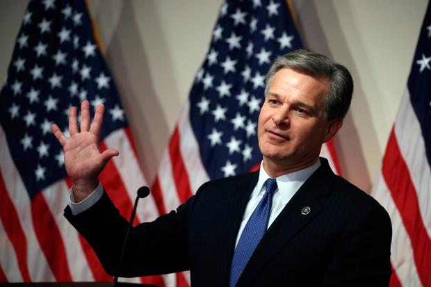 FBI director Christopher A Wray. Photo: Getty Images