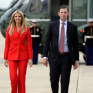 Education secretary Betsy DeVos, Ivanka Trump and Eric Trump walk to Air Force One for a campaign rally in Florida. Photo: AP