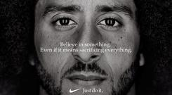Former San Francisco quarterback Colin Kaepernick appears as a face of Nike in an advertisement REUTERS
