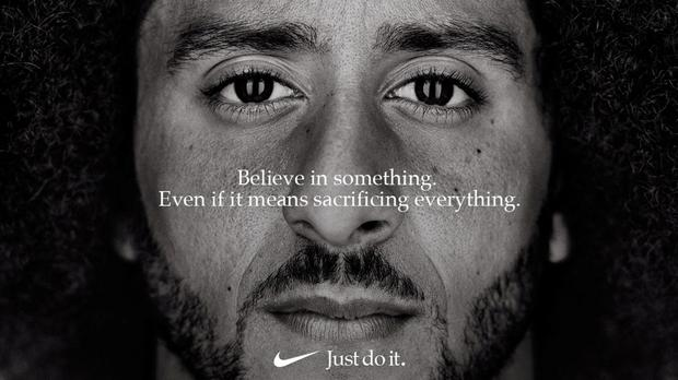 Former San Francisco quarterback Colin Kaepernick appears as a face of Nike in an advertisement (REUTERS)