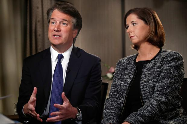 Questions: Brett Kavanaugh defended himself in an interview this week with Fox News, flanked by his wife Ashley Estes Kavanaugh. Photo: AP