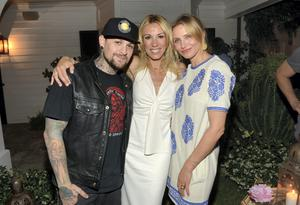Musician Benji Madden, author Vicky Vlachonis, and actress Cameron Diaz. Diaz and Madden have married (Getty)