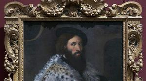 Girolamo Fracastoro Titian, about 1528, which will go on show in a new exhibition celebrating the tradition of ornate 16th century Sansovino frames (National Gallery/PA)