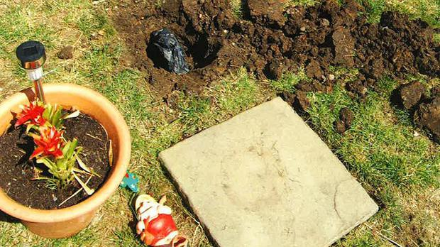 A back garden in South Norwood, London, where gun parts were discovered buried underneath garden gnomes (Metropolitan Police/PA)