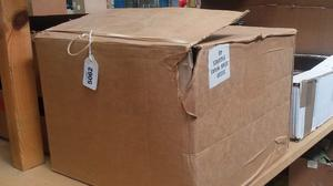 An empty cardboard box which once held Star Wars figures from the factory where they were made, which sold for 160 pounds at auction