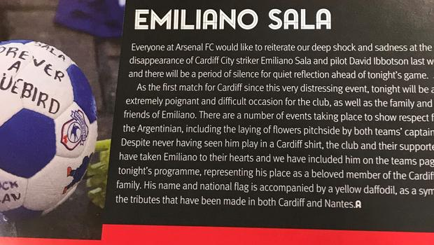 Arsenal's matchday programme includes tributes to missing footballer Emiliano Sala (Matt McGeehan/PA)