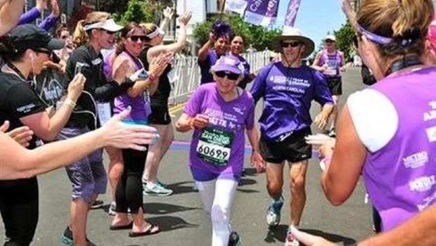 Harriette Thompson crossing the finish line in the 2014 Suja Rock n Roll Marathon in San Diego (AP/Competitor Group)