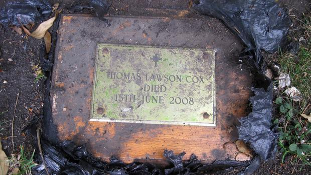 The box of ashes which was found buried in a garden in Chester-le-Street, County Durham