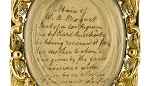 A lock of Mozart's hair is being auctioned (Sotheby's/PA)