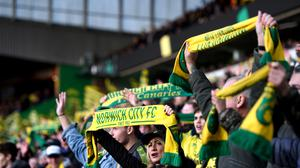 Norwich City fans show support for their team in the stands during the Premier League match at Carrow Road, Norwich (Joe Giddens/PA)