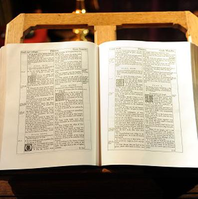 A reproduction of a 1611 bible, as a study suggested that Bible literacy was falling
