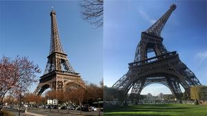 The Eiffel Tower in Paris through different cameras (Andrew Matthews/PA and Jean-Philippe Dumais)