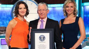 Countdown host Nick Hewer with Rachel Riley and Susie Dent