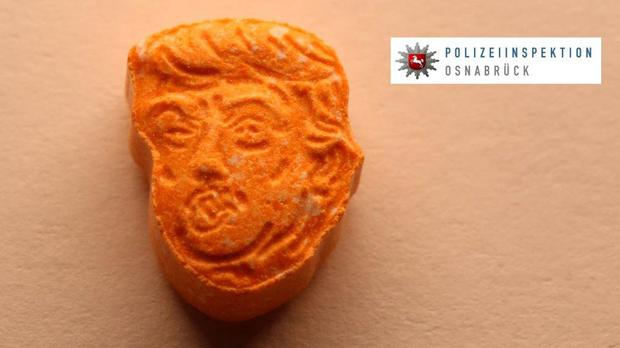 This picture provided by Polizeiinspektion Osnabrueck police shows an ecstasy pill in the shape of Donald Trump's head
