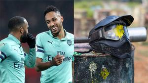 Arsenal strikers Alexandre Lacazette and Pierre-Emerick Aubameyang went paintballing (Martin Rickett/PA and JackF/Getty Images)