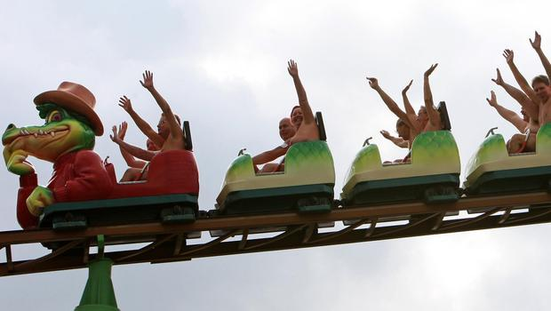 Naked rollercoaster ride sees thrill-seekers strip off for
