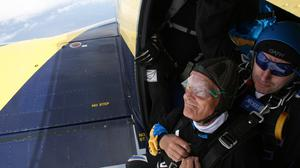 Cliff Dadson, 94, just before his 13,500ft sponsored tandem skydive in Grange-over-Sands (Action for Children/PA)