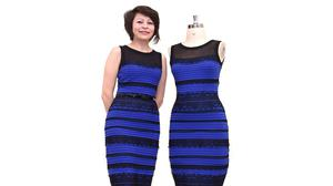 Michele Bastock, fashion director at Roman Originals, models the two-tone dress that sparked a global debate on Twitter