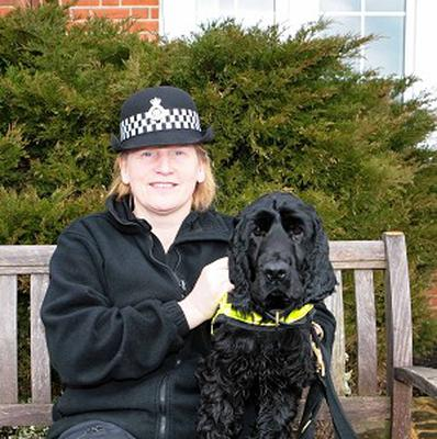 PC Marie Poole with police drugs detection dog Griffin, who has retired from service. (PA/Wiltshire Police)