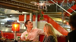 "Photo issued by TGI Fridays of what is described as the UK's first ""mistletoe drone"""