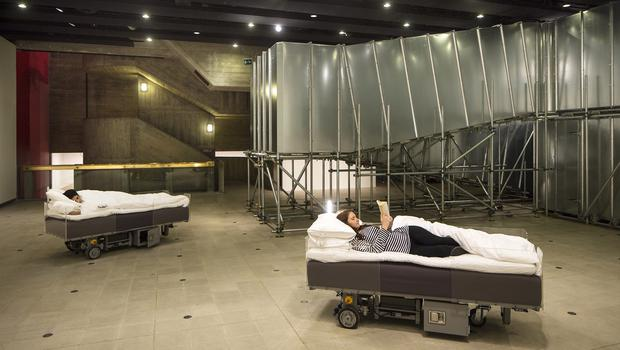 'Two Roaming Beds', part of the Hayward Gallery exhibition Carsten Holler: Decision, which will allow art lovers to stay overnight at the building on London's South Bank and sleep in the specially adapted beds (David Levene/Southbank Centre/PA)