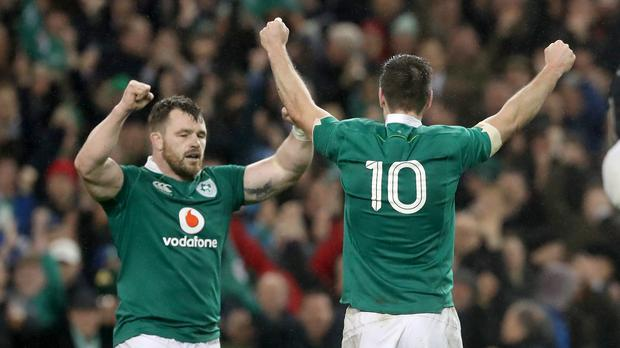 Ireland's Cian Healy (left) and Johnny Sexton celebrate after the RBS 6 Nations match at the Aviva Stadium, Dublin.