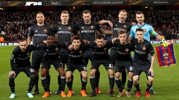 CSKA Moscow's team before their Europa League game against Arsenal