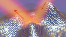 """A 3D illustration of the ultra-thin invisibility """"cloak"""" covering an irregularly shaped object (Xiang Zhang group, Berkeley Lab/UC Berkeley)"""