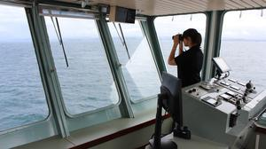Orca wildlife officer Lucy Babey on CalMac ferry Lord of the Isles (Orca/PA Wire)